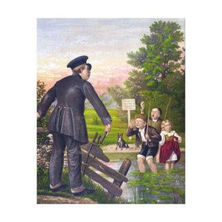 Pintura traviesa del vintage de los niños impresión en lienzo