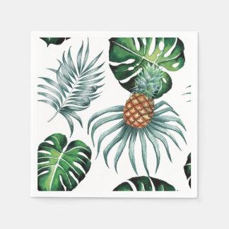 Pintura tropical de la piña de la acuarela en servilletas desechables