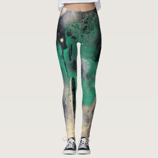 Pintura verde abstracta de la acuarela leggings