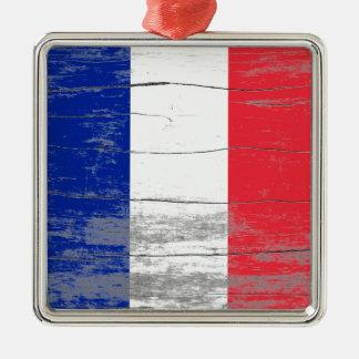 Pintura vieja de Francia Adorno Cuadrado Plateado