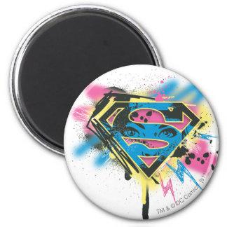 Pintura y derramamientos de Supergirl Imán Redondo 5 Cm
