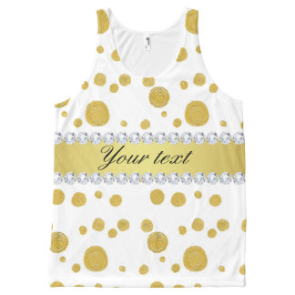 Pintura y diamantes de aceite del oro de los camiseta de tirantes con estampado integral