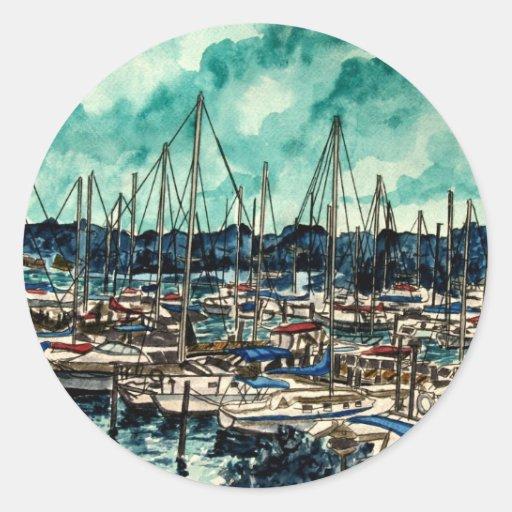 pinturas del arte de la navegación del marinero de pegatina redonda