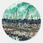 pinturas del arte de la navegación del marinero de etiqueta redonda