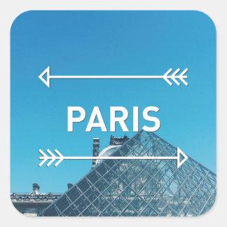 Pirámide París del Louvre Pegatina Cuadrada