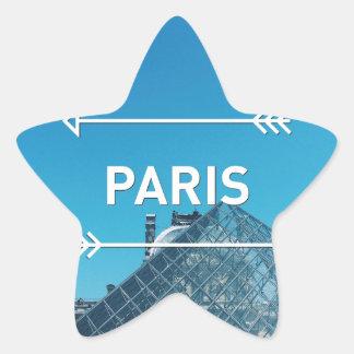 Pirámide París del Louvre Pegatina En Forma De Estrella