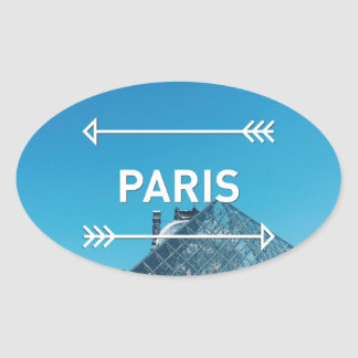 Pirámide París del Louvre Pegatina Ovalada