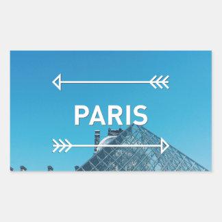 Pirámide París del Louvre Pegatina Rectangular