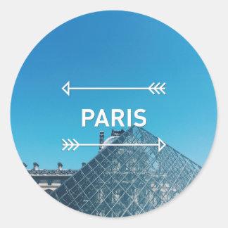 Pirámide París del Louvre Pegatina Redonda