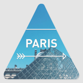 Pirámide París del Louvre Pegatina Triangular