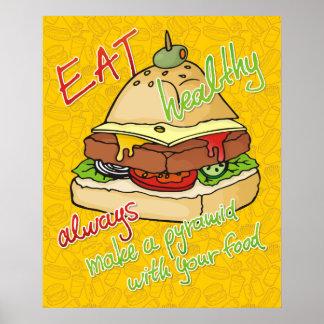 Pirámide sana de la hamburguesa de la consumición póster