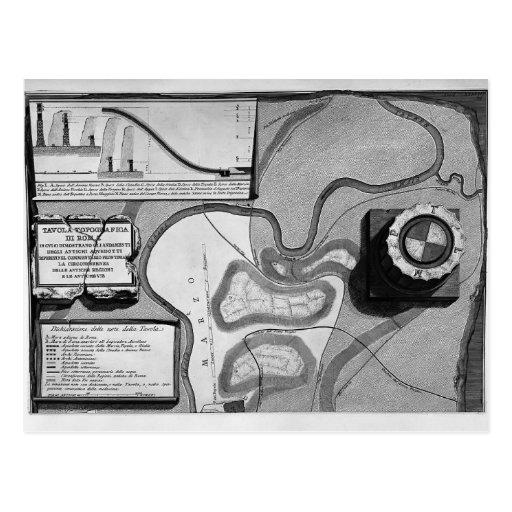 Piranesi-Placa de Juan de la topografía de Roma Postal