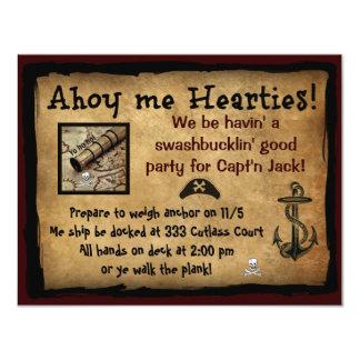¡Pirata Ahoy yo Hearties! El fiesta invita Invitación 10,8 X 13,9 Cm