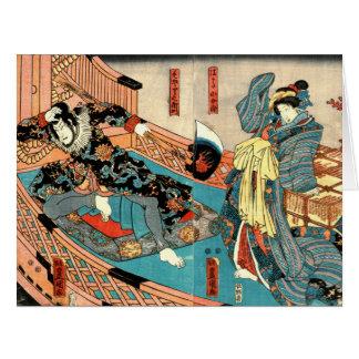 Pirata, comerciante y doncella 1848 tarjeta de felicitación grande