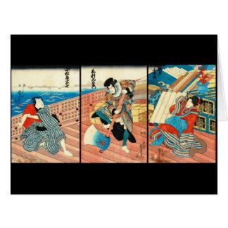 Pirata, comerciante y doncella 1850 tarjeta de felicitación grande