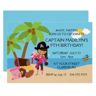 Pirata con una fiesta de cumpleaños de la pierna invitación 12,7 x 17,8 cm