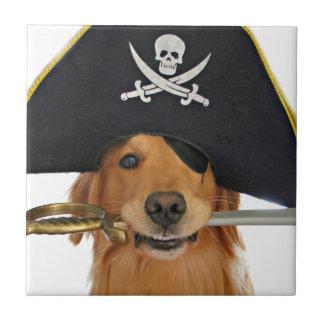 Pirata de Halloween del golden retriever Azulejo Cuadrado Pequeño