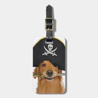 Pirata de Halloween del golden retriever Etiquetas Para Maletas