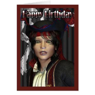 Pirata de la hembra del feliz cumpleaños tarjeta de felicitación