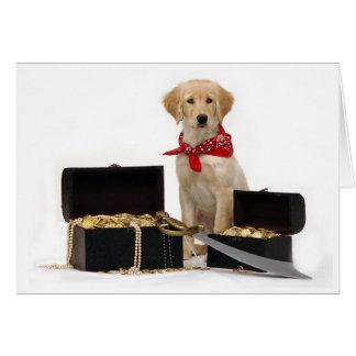Pirata de oro del perrito felicitacion