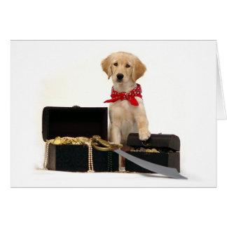 Pirata de oro del perrito tarjeta de felicitación
