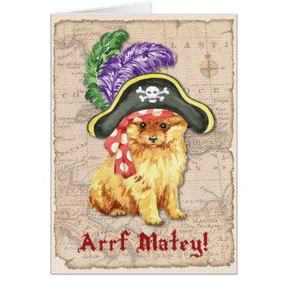 Pirata de Pomeranian Tarjeta De Felicitación
