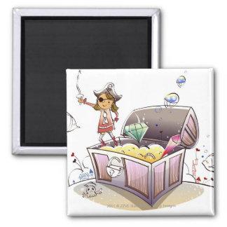 Pirata de sexo femenino que se coloca en un cofre  imán de frigorífico