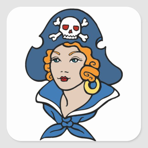 Pirata del chica pegatina cuadradas personalizada