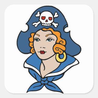Pirata del chica pegatina cuadrada