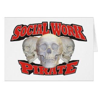 Pirata del trabajo social tarjeta de felicitación