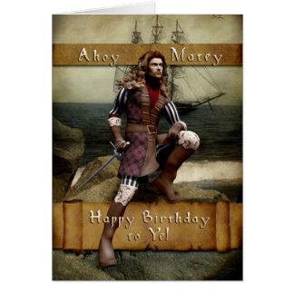Pirata - feliz cumpleaños a YE - tarjeta de