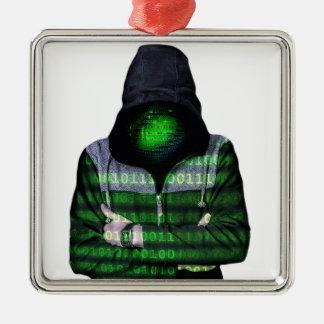 Pirata informático anónimo del Internet Adorno Navideño Cuadrado De Metal