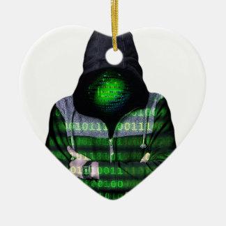 Pirata informático anónimo del Internet Adorno Navideño De Cerámica En Forma De Corazón