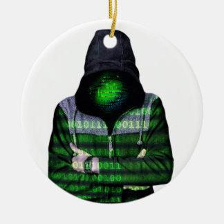 Pirata informático anónimo del Internet Adorno Navideño Redondo De Cerámica