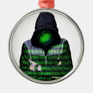 Pirata informático anónimo del Internet Adorno Navideño Redondo De Metal