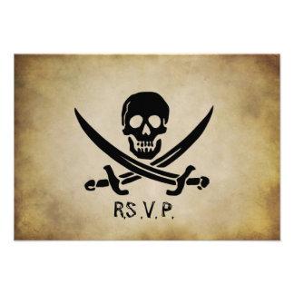 Pirata que casa la tarjeta de la respuesta de RSVP Invitación
