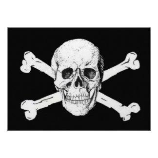 Piratas cráneo negro y bandera pirata comunicados personalizados