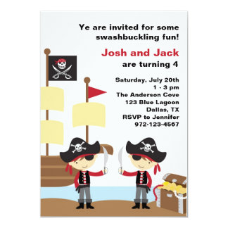 Piratas del cumpleaños invitación 12,7 x 17,8 cm