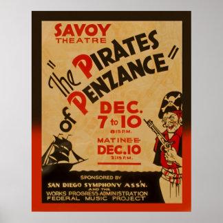 Piratas del poster 1938 de WPA del vintage de Póster