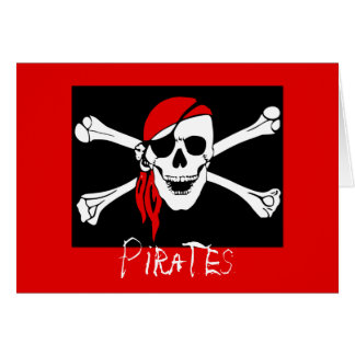 Piratas - negros y cráneo rojo del pirata tarjeta de felicitación