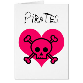 Piratas rosados del corazón tarjeta de felicitación