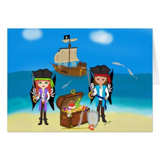 Piratas y tarjeta de felicitación del tesoro