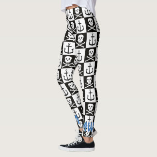 Piratee el modelo negro y blanco del &Anchor del Leggings