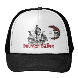 PirateShip, luna-cráneo-rosas, marinero borracho Gorras