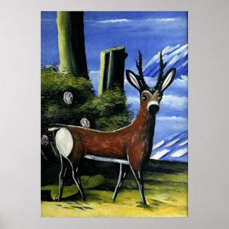 Pirosmani - ciervo de huevas con un fondo del póster