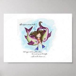 Piscis, ella es una imagen linda de la sirena póster