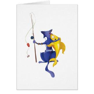 Piscis, gato tarjeta de felicitación