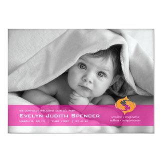 Piscis la invitación del nacimiento de la foto de invitación 12,7 x 17,8 cm