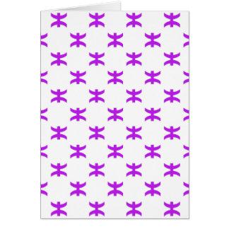 Piscis modelan púrpura tarjeta de felicitación