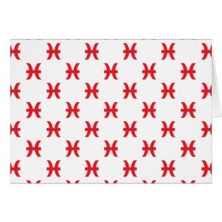 Piscis modelan rojo tarjeta de felicitación